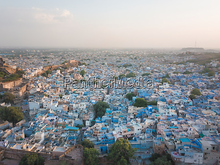 aerial view of the blue houses