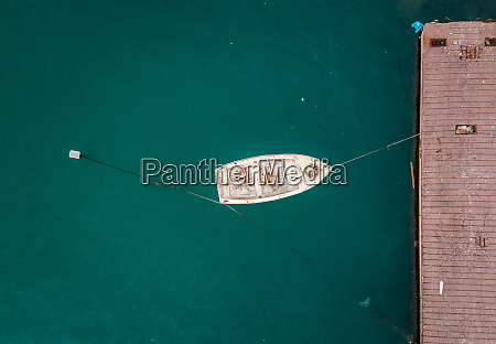 aerial view of boat tied to