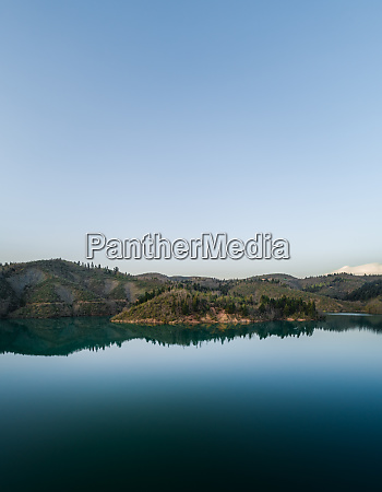 aerial view of lake plastira at