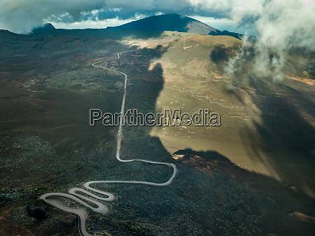 aerial atmospheric view of winding long