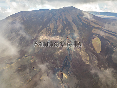 aerial view of volcanic mountain and