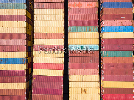 aerial view of muliticoloured shipping containers