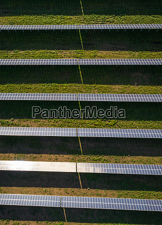 aerial view above of solar panel