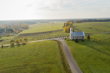 aerial view of an isolated church