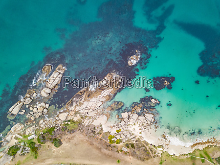 aerial abstract view of rocky coast