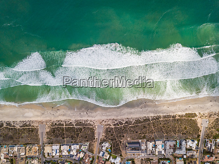 aerial view of sunset beach and