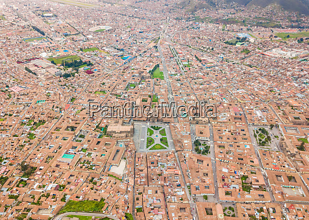 aerial abstract panoramic view of cuzco