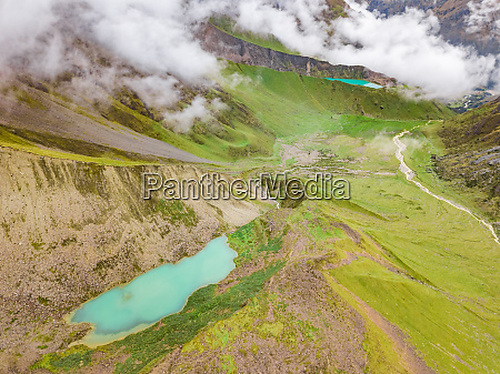 aerial view of cloudy humantay lake