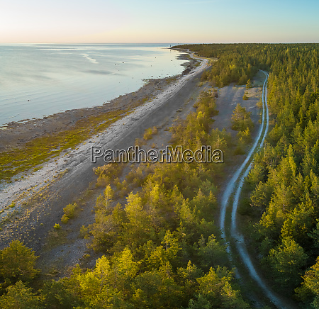 aerial view road in the edge