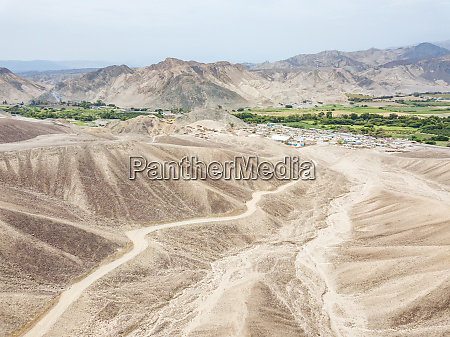 aerial view of nazca desert town