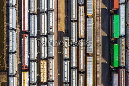 aerial view of railroad freight cars