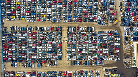 aerial view of rows of old