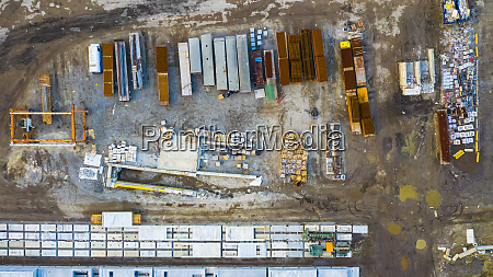 aerial view of finished concrete slabs