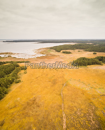 aerial view of unusual landscape of