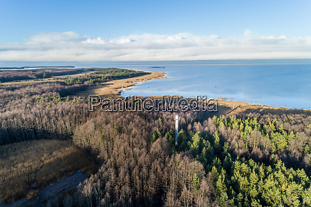 aerial view of norrby lighthouse in