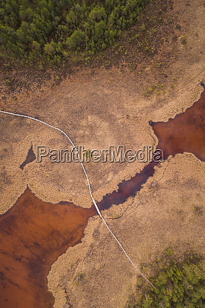 aerial view of surreal landscape around
