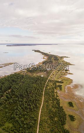aerial view of coastline of vormsi