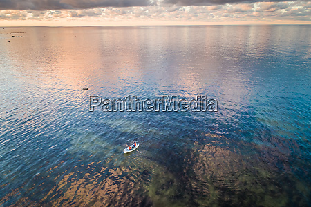 aerial view of two people in