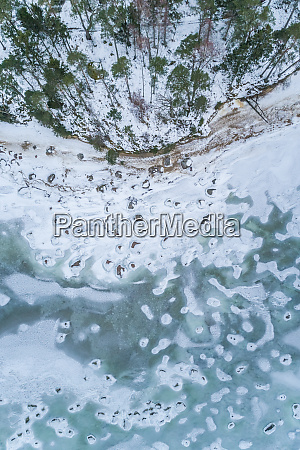 aerial view of the frozen rocky