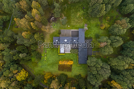 aerial view of a house in