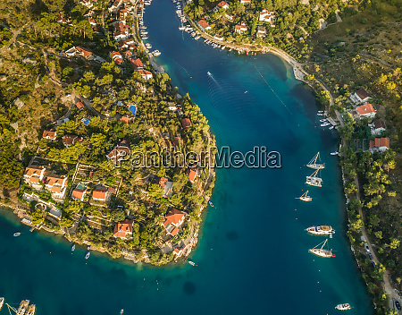 aerial view of boats and houses