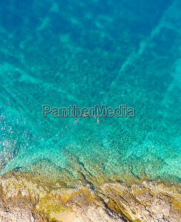 aerial view of tourists swimming