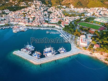 aerial view on makarska and marina