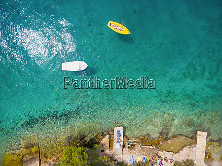 aerial view of boat floating by