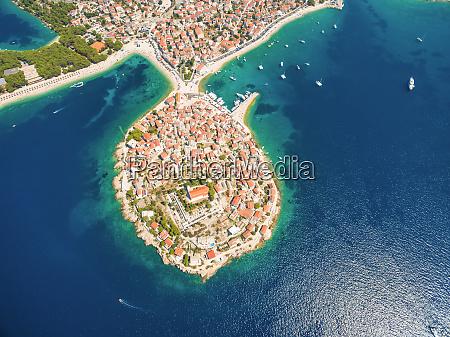 aerial view of primosten popular croatian