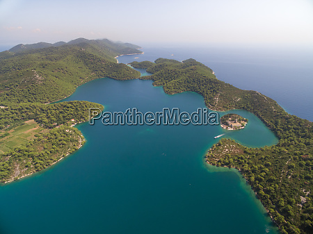 aerial view of big lake with