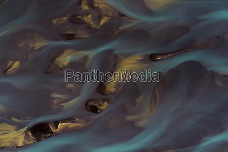 aerial view of husavik glacier rivers