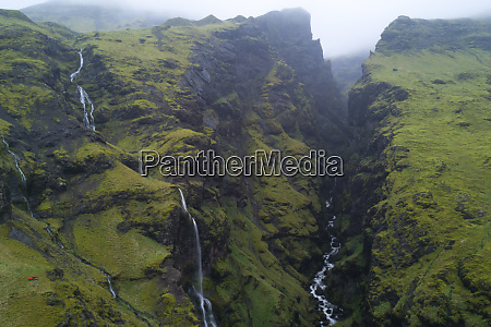 aerial view of icelandic gorge