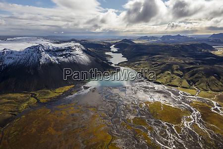aerial view of beyond landmannalaugar