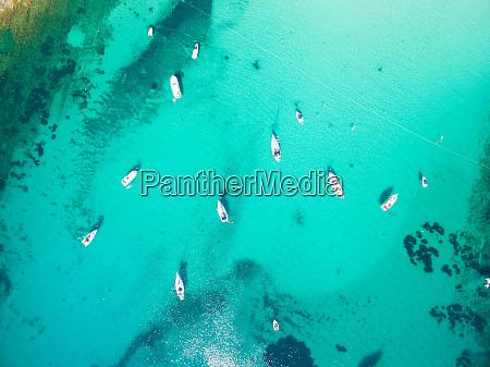 aerial view of saling boats