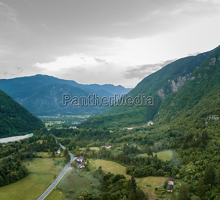 aerial view of misty soca valley