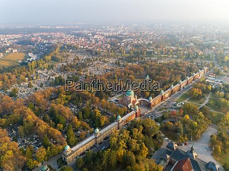 aerial view of mirogoj cemetery during