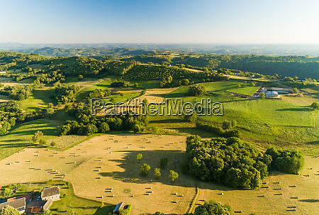 aerial view of rolling hills and