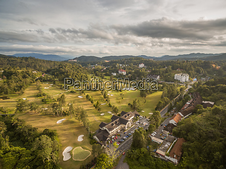 aerial view of golf club outside
