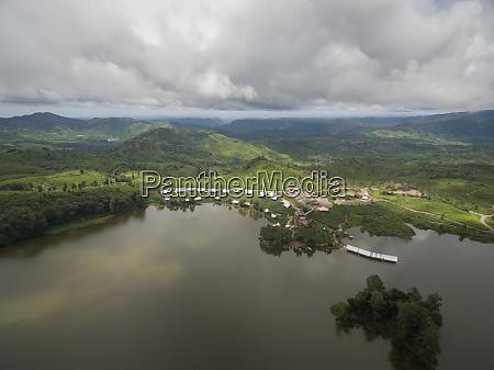 aerial panoramic view of patenggang lake