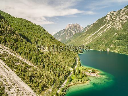 aerial view of lago del predil