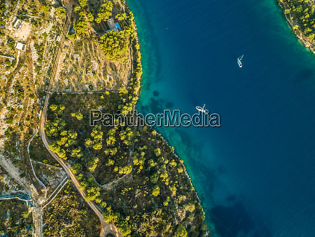 aerial view of two yachts in