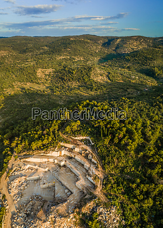 aerial panoramic view of quarry white
