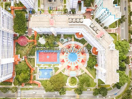 aerial view of park in between