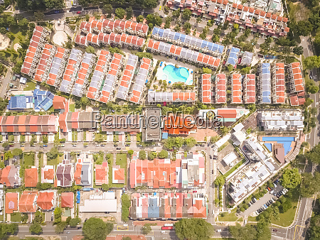 aerial view of residential houses in