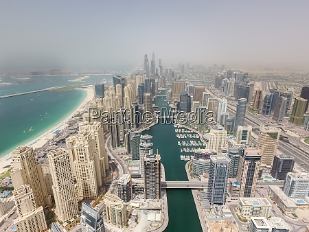 aerial view of skyscrapers and harbour