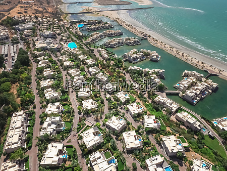 aerial view of luxury houses on