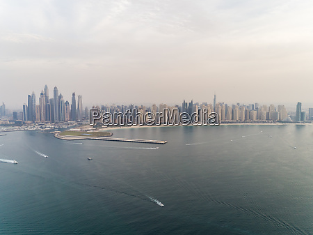 aerial panoramic view of skyscrapers and