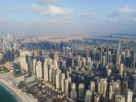 aerial panoramic view of dubai