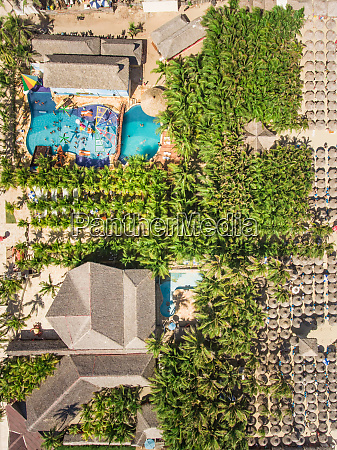 aerial view of aquatic complex on
