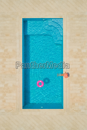 aerial view of young girl in